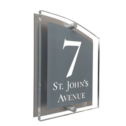 Arc Shape - Clear Acrylic House Sign - Mid Grey Colour with White text in Font  2